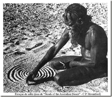 fresque de sable aborigène