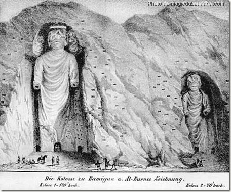 dessin des bouddhas de bamiyan