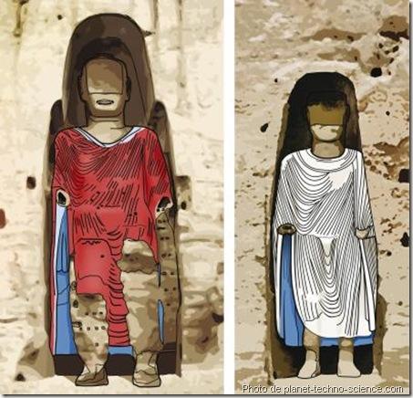 simulation couleur des bouddha de bamiyan