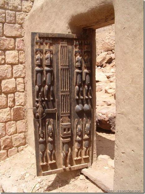 Porte Dogon de grenier-sculpture bois