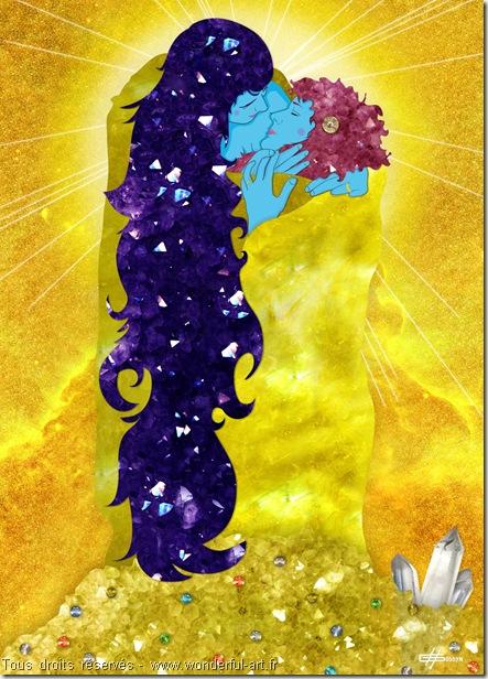 le baiser-cosmic love-Computer art-tableau numérique-digigraphie-tableau plexi et dibond-tableau détourné-tableau détourné du baiser de Klimt-impression sous plexi-www.wonderful-art.fr