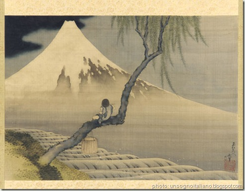 hokusai un arbre devant le fujiyama