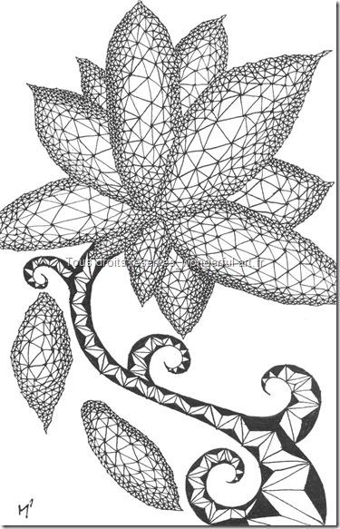 Estampe-delta_A5_flower-power_Emmanuelle-Prudhomme_dessin-fractal_dessin-triangle