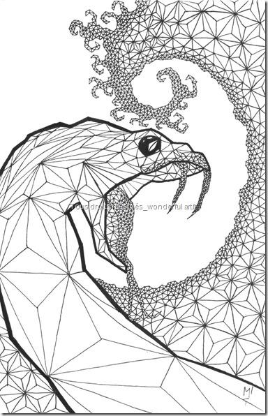 Estampe-delta_A5_snake_Emmanuelle-Prudhomme_dessin-fractal_dessin-triangle