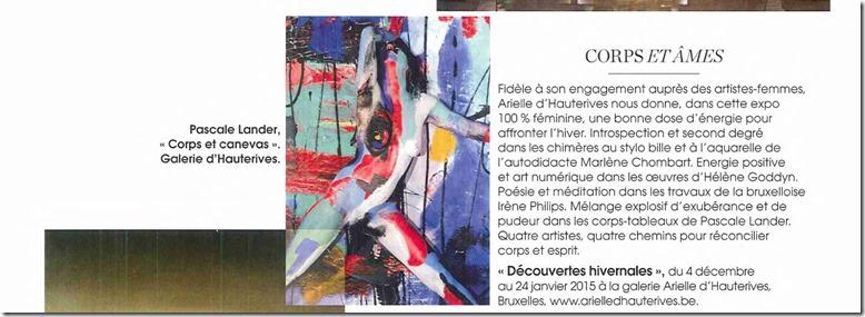 Marie Claire Belgium_01 Décembre 2014_Hélène Goddyn_galerie Arielle d'Hauterives