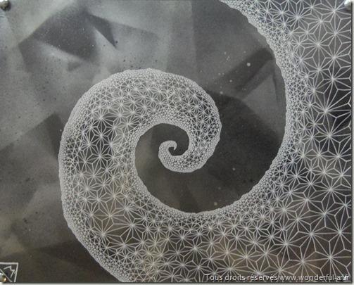 Fibonacci Spiral-par Emmanuelle PRUDHOMME-Série DELTA-wonderful-art-spirale de Fibonacci-fractales-triangles-nombre d'or-suite de Fibonacci