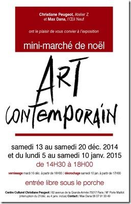 Mini marché de l'art contemporain organisé par l'association l'Oeil neuf_Espace Christiane Peugeot_Hélène Goddyn_du 13 au 20 décembre 2014 et du 5 au 10 janvier 2015