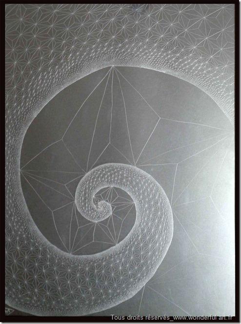 Fibonacci-spiral-#2-série-DELTA-Emmanuelle-Prudhomme-dessin-contemporain--spirale-de-Fibonacci-fractales-triangle-dessin-géométrique