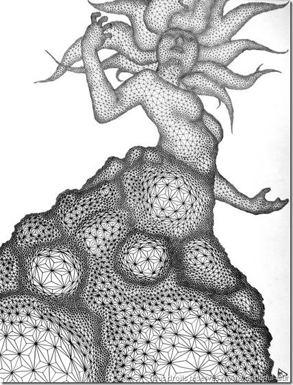 lilith#3 par manue prudhomme-série DELTA-fractale-illusion d'optique- stéréogramme-wonderful-art-artmanue