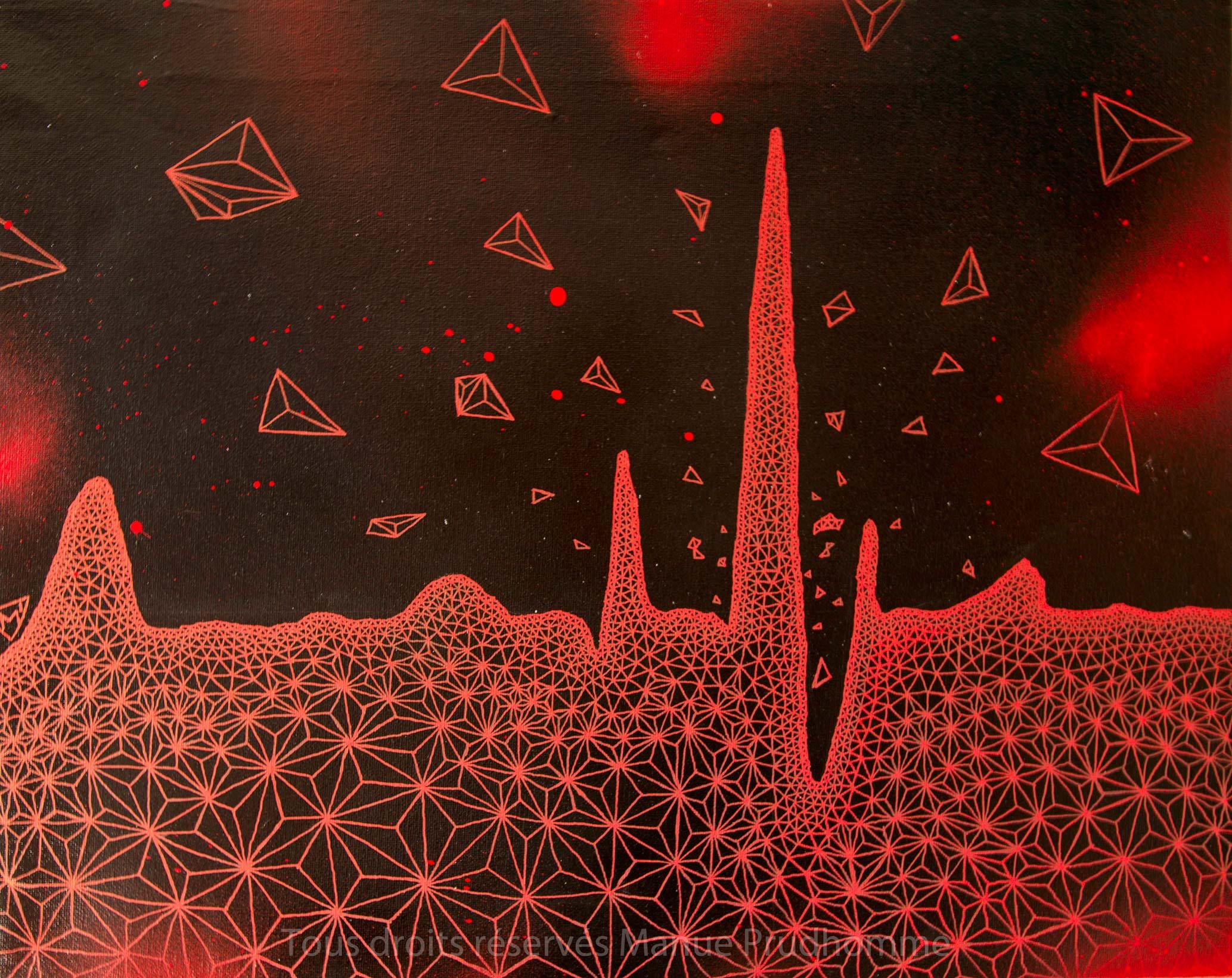 Hearbeat, 49,5x39,5 cm, peinture en bombe, acrylique sur toile