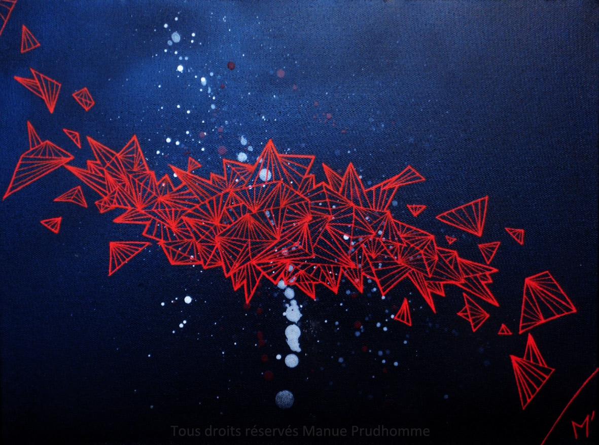 Dédale-2, peinture en bombe, acrylique, sur toile, 30x40cm,2018, par Manue Prudhomme,